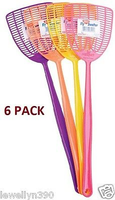 "6pk NEW Enoz Plastic Fly Swatter Multi Color 4"" Blade"