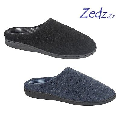 Mens Zedzzz Black or Navy Warm Memory Foam Comfort Mule Slippers Size 6 to 12