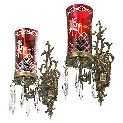 Antique Wall Sconces Pair French Louis Art Deco Lights with Ruby Glass (ANT-789)