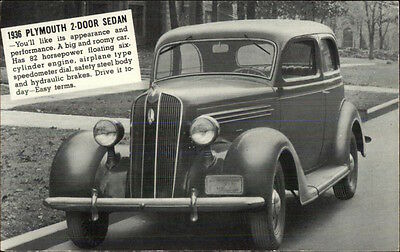 1936 Plymouth 2 Door Sedan Car - Jonkintown PA Dealership on Back Postcard