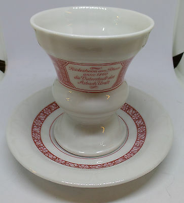 Heinrich Germany Rudesheim Coffee /Cocoa Cup & Saucer Red & White W. Germany