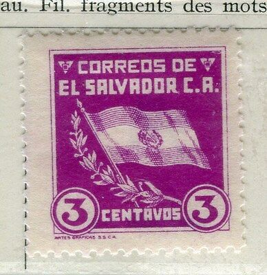 EL SALVADOR;  1935 early Flag issue fine Mint hinged 3c. value
