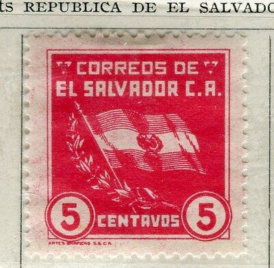 EL SALVADOR;  1935 early Flag issue fine Mint hinged 5c. value