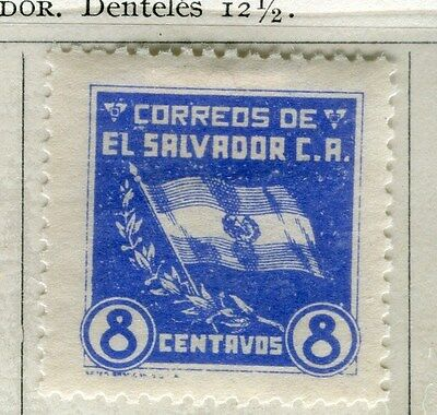 EL SALVADOR;  1935 early Flag issue fine Mint hinged 8c. value