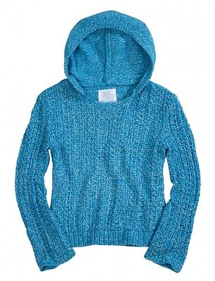 NWT Justice Girls Turquoise Metallic Cable Hoodie Sweater Top 10 NEW