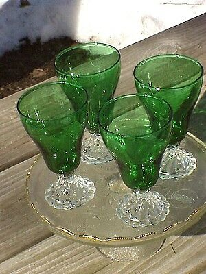 "4 Anchor Hocking Forest Green Berwick 6"" FOOTED WATER GOBLETS Inspiration Stem"