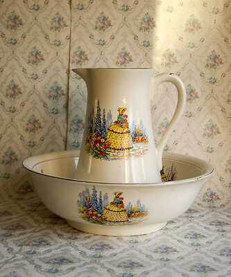 Lovely Large Vintage 1920s/30s Crinoline Lady Wash Stand Bowl and Jug - UK P&P
