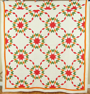 OUTSTANDING Vintage 1860's Red, Green & Cheddar Touching Stars Antique Quilt!