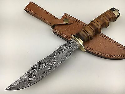 """Ash d75l damascus steel handmade hunting bowie knife 12"""""""