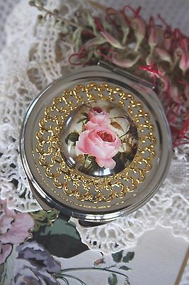 Compact Mirror Vintage Style French Rose Flower Compact Mirror Mothers Day Gift