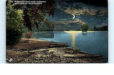 1910s Postcard Marquette State Park Wisconsin WI Moonlight River View