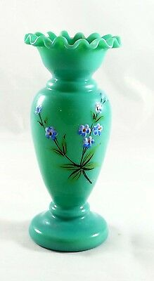 Small ANTIQUE OPAQUE BRISTOL GLASS VASE WITH ENAMELED FLOWERS RUFFLED TOP
