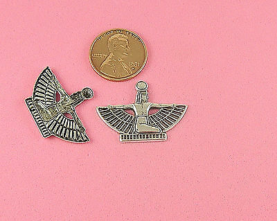 Antique Silver Plated Brass Egyptian Winged Queen - 2 Pcs