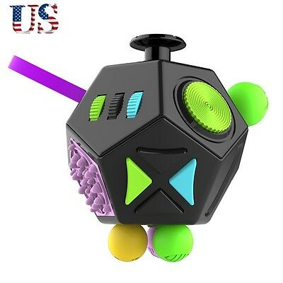 12 Side Fidget Cube Toys Anxiety Stress Attention Relief Puzzle Adults Kids Gift