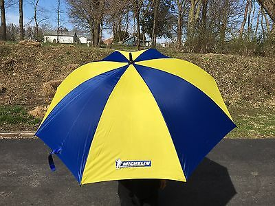 "Michelin Tires 52"" Golf Umbrella Advertizing Promo Blue Yellow with Cover Tyres"