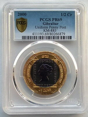 Gibraltar 2000 Unifrom Blue Panny PCGS PR69 Titanium Gold Coin,Proof