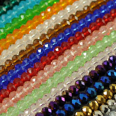 Lots 22 Colors Faceted Crystal Rondelle Loose Glass Beads Jewelry 6/8mm