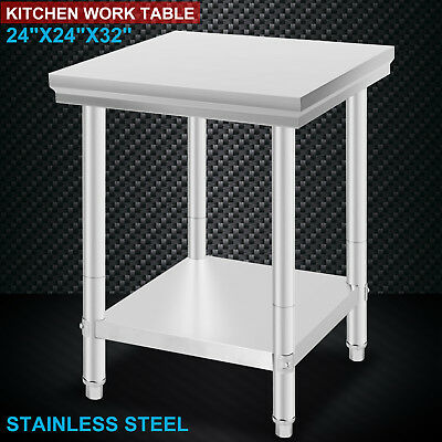 610x610mm Commercial 430 Stainless Steel Kitchen Work Bench Food Prep Table Top!