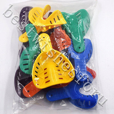 12 Pc  L/M/S Adult/Child Dental Impression Tray Plastic 6 Size Color Disposable