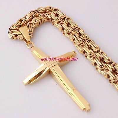 Men Stainless Steel Gold Byzantine chain Necklace With Cross Pendant Bracelet