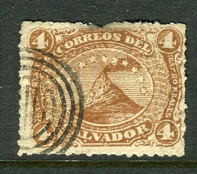 EL SALVADOR;  1867 early classic issue used 4c. value