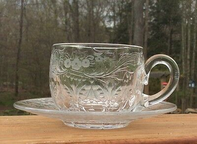 Rare Hawkes Cut Glass Rock Crystal Cup and Saucer