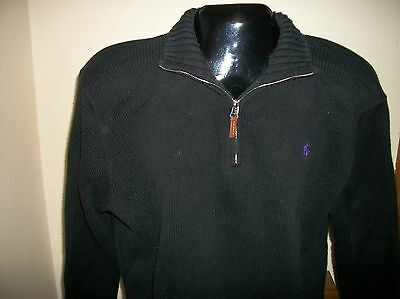 Mens Polo Ralph Lauren Long Sleeve Pullover 1/4 Zip Up Sweater Size L Black