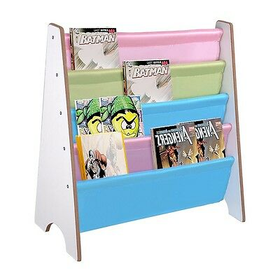 Wood Kids Sling Book Shelf Storage Rack Organizer Color Pockets Bookcase Holder