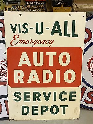 VinTagE VIS-U-ALL AUTO RADIO SERVICE DEPOT Double Sided Sign Car Truck Gas Oil