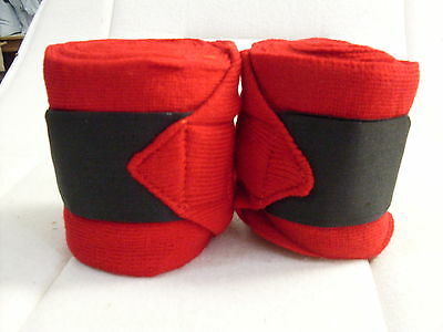*** Red Bandages - Acrylic With Black Self Grip Straps - Pair New ***