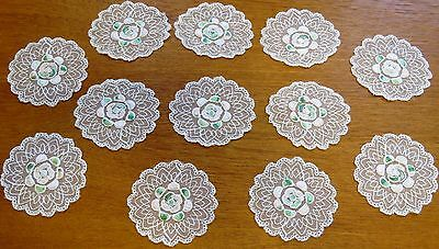 Antique Coasters Doilies French Tambour Net Doily Set Cream Embroidered 12 pc