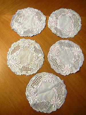 Antique Society Silk Doilies Hand Embroidered Doily Set 5 pc Pink Mums Flowers
