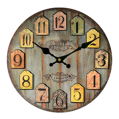 Rustic Wooden Large 30cm Clock Retro Kitchen Wall Decor London Old Town