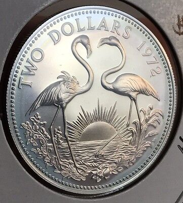 1972 Bahamas Silver $2 Proof Coin. Huge Collector Coin For Your Collection