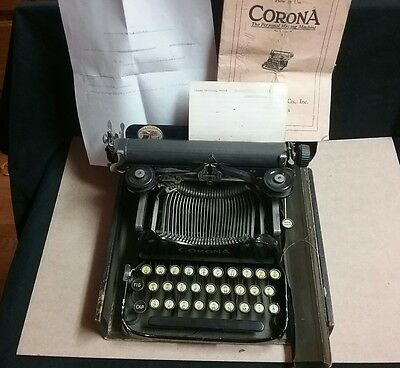 Vintage CORONA typewriter #3 instructions manual case excellent portable works