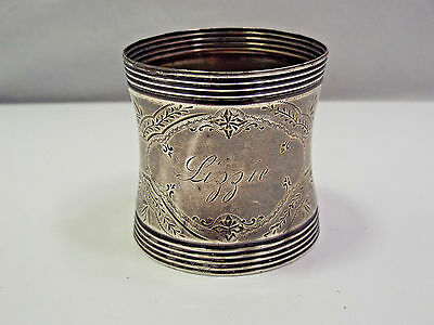 Antique Silver Engraved Floral Pattern Napkin Ring, Lizzie Monogram, 23.6g