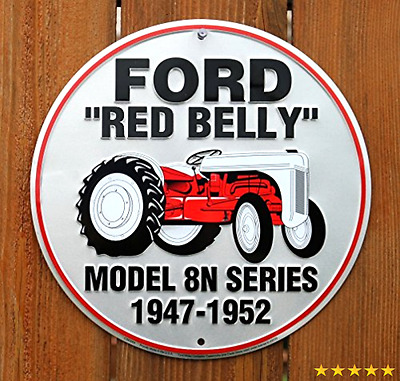 Ford Red Belly Model 8N Red Tractor Retro Vintage Round Sign