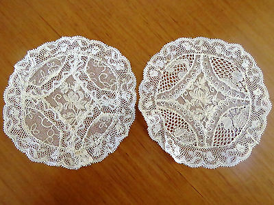 2 Antique Lace Doilies Table Doily Set Cream Net Needle Run Mats