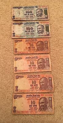 India - Paper Money, Bill, Uncirculated Currency Total 240 Rupees