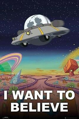 (LAMINATED) RICK AND MORTY POSTER (61x91cm) I WANT TO BELIEVE PICTURE PRINT NEW