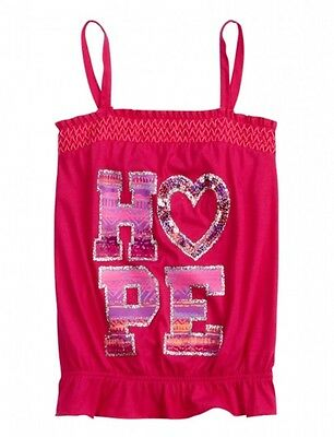 NWT Justice Girls Hot Pink HOPE Sequin Heart Tank Top Tee 10 NEW