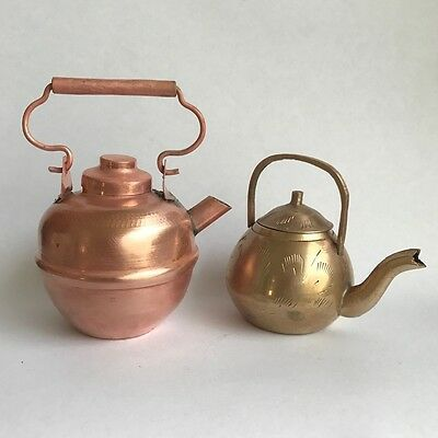 Vintage Collectible Miniature Brass Copper tea pots kettles x 2
