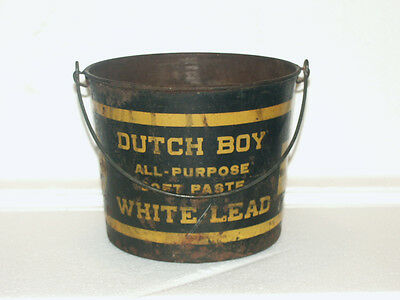 Old Advertising Vintage Dutch Boy Paints Bucket Soft Paste White Lead