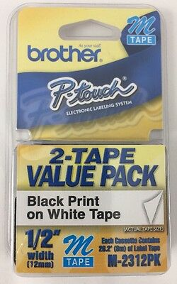 """2/Pack Brother M231-2PK P-touch Label Tape 1/2"""" Black on White Ptouch Label"""