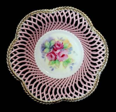 Vintage pink floral lattice intricate china pretty basket