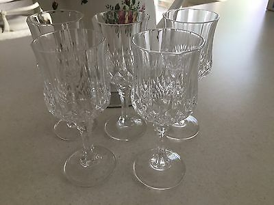 Cristal D'arques Longchamp Crystal - 5 Sherry Glasses - Vintage Retro