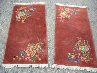Pair Of Matching Antique 1920's Chinese Art Deco Rugs 2X4