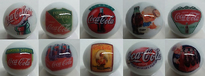 Super Nice Set of 10 Coca Cola Collectible Glass Marbles