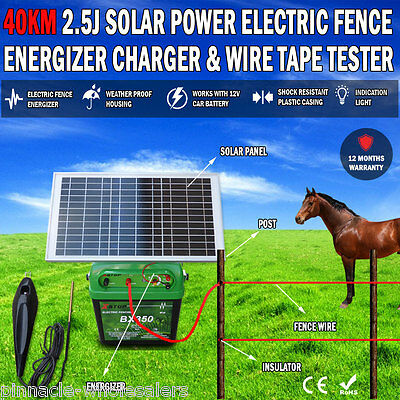 NEW 40km 2.5J Solar Power Electric Fence Energizer Charger & Free Fence Tester