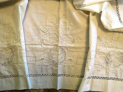 Antique Pillow Sham Layover Cover Embroidered Cotton Figural Angels Cherubs